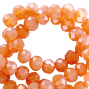 Top faceted disc beads 3x2 mm Crystal copper orange