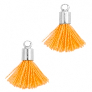 Ibiza style small tassels with end caps Silver-Coral orange