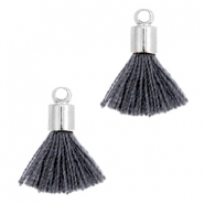 Ibiza style small tassels with end caps Silver-Darkgrey