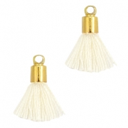 Ibiza style small tassels with end caps Gold-Ivory white