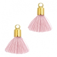Ibiza style small tassels with end caps Gold-Antique pink