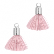 Ibiza style small tassels with end caps Silver-Antique pink