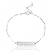 "Stainless steel bracelet with quote ""WISH DREAM BELIEVE"" Silver"