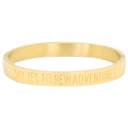 "Stainless steel bracelet with quote ""SAY YES TO NEW ADVENTURES"" Gold"
