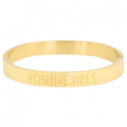 "Stainless steel bracelet with quote ""POSITIVE VIBES"" Gold"