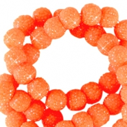 6 mm sparkling beads Neon orange