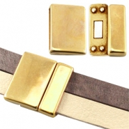 Large DQ metal magnetic clasp (for 10/20mm flat DQ leather) Gold (nickel free)