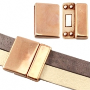 Large DQ metal magnetic clasp (for 10/20mm flat DQ leather) Rose gold (nickel free)