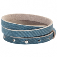 Nubuck Cuoio bracelet leather tripple 8 mm for 12 mm cabochon Denim Blue