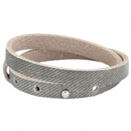 Nubuck Cuoio bracelet leather dubble 8 mm for 12 mm cabochon Denim grey
