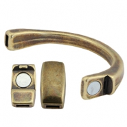 DQ metal bracelet with magnetic clasp (for 5mm flat leather/string) Antique bronze (nickel free)