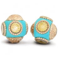 Bohemian beads 14mm Turquoise blue - Gold