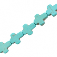 Ceramic turquoise round cross 10mm Turquoise blue