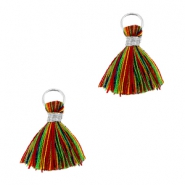 Tassels ibiza style 1cm Silver-multicolor red green