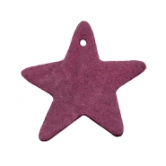 DQ leather charms star Light aubergine red
