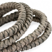 DQ round braided leather 8mm Greenish grey