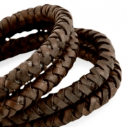 DQ round braided leather 8mm Dark chocolate brown