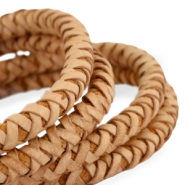 DQ round braided leather 6mm Natural brown-vintage finish