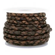 DQ round braided leather 3mm 4 strings Medium earth brown-vintage finish