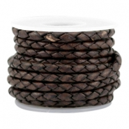 DQ round braided leather 3mm 4 strings Dark chocolate brown