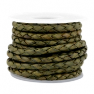 DQ round braided leather 3mm 4 strings Medium olive green