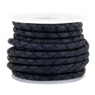 DQ round braided leather 3mm 4 strings Dark blue