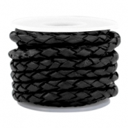 DQ round braided leather 3mm 4 strings Black