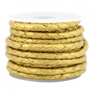 DQ round braided leather 3mm 4 strings Gold-metallic