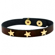 Bracelets gold star with studs Dark chocolate brown