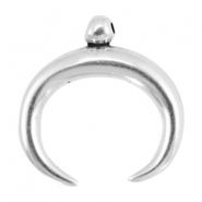 Charms horn DQ metal 43mm Antique silver (nickel free)