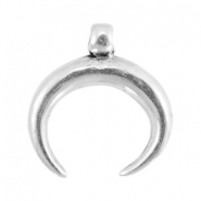 Charms horn DQ metal 32mm Antique silver (nickel free)
