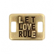 Charms connector DQ metal LET LOVE RULE  Antique bronze (nickel free)