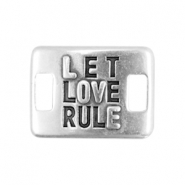 Charms connector DQ metal LET LOVE RULE  Antique silver (nickel free)