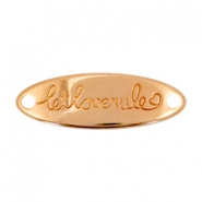 Charms connector oval DQ metal let love rule  Rose gold (nickel free)
