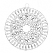 Bohemian charms round with ring 30 mm Silver