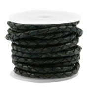 Leather DQ round braided 4 strings Vintage dark green