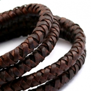 Leather DQ round 8 mm Vintage auburn brown