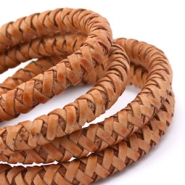 Leather DQ round 6 mm Vintage copper brown