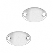 DQ metal charms oval connector Antique silver (nickel free)