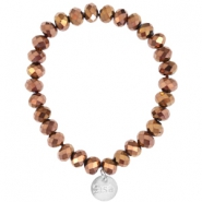 Top faceted Sisa bracelet 8x6mm (stainless steel charm) Brown metallic