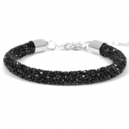 Crystal diamond bracelets 7mm Jet black