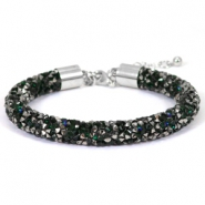 Crystal diamond bracelets 8mm Deep emerald green-anthracite