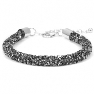 Crystal diamond bracelets 7mm Black diamond-anthracite