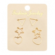 Earrings heart, star & triangle Gold