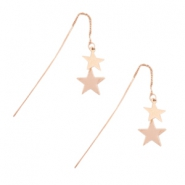 Earrings star & chain Rose gold