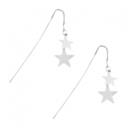 Earrings star & chain Silver
