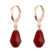 Trendy earrings with drop shaped faceted pendant Rose gold-siam red