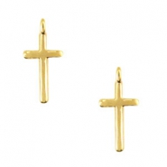 DQ metal charms cross with loop Gold (nickel free)