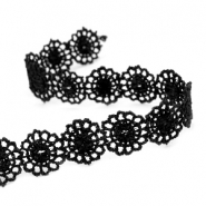 Ribbon with lace 14 mm Black