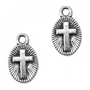 Flat Basic Quality metal charms with cross Antique Silver